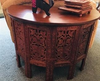 Carved Middle Eastern Lamp Table, $100