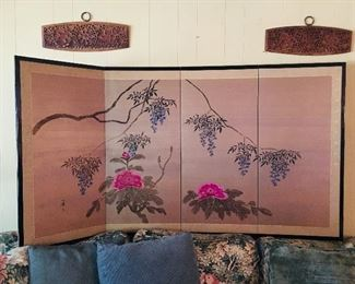 4 Panel Asian Screen, $125, Carved Wood Pieces SOLD