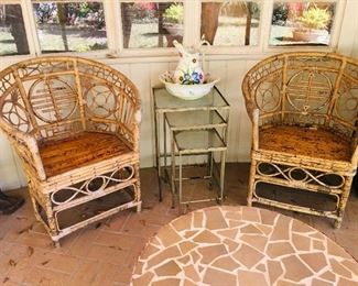 Pr. Asian Bamboo Chairs, $400, Metal Nesting Tables SOLD