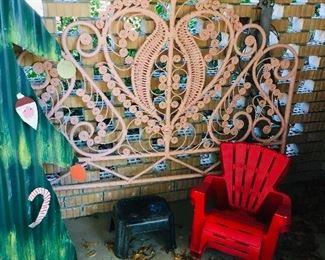 Pink Scroll Bamboo Headboard, $40