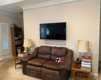 LG Flat Screen Television, Leather Love seat