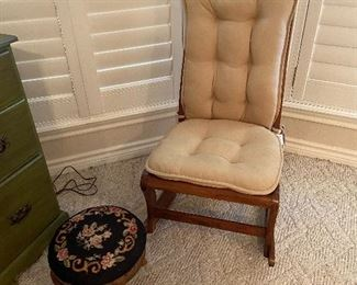 Rocking Chair-  Needlepoint Stool
