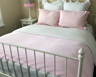 White iron bed, mattress and box spring and bedding