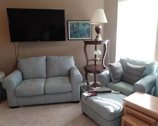 Light Blue Sofa and Chair/Ottoman