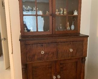 """Item 1( was $1800) NOW $900 19th Century Antique Cabinet. It measures approximately 42.25"""" W by 80"""" H by 20.25"""" D.There is a surface crack on one pane of the glass."""