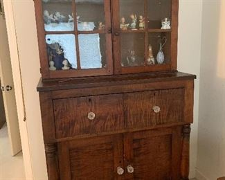 """Item 1 ( was $1800) NOW $900 19th Century Antique Cabinet. It measures approximatly 42.25"""" W by 80"""" H by 20.25"""" D.There is a surface crack on one pane of the glass."""