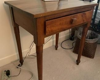"""Item 7 (was $295.00) Now $175 Antique table with single drawer measures about 18"""" D by 26"""" W by 27.5"""" H"""