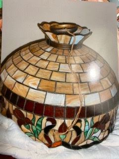 Item 41 Very Large Vintage Stained Glass Hanging Lamp with beautiful Iris Border $1250