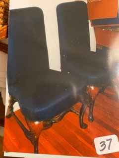 Item 43 Pair of Antique Chairs with Navy Upholstery $300 Pair