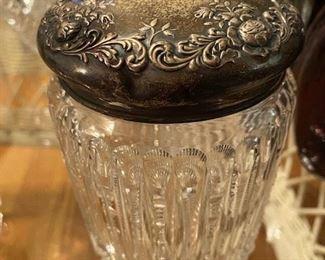 Item 46 Large Dresser Jar with Sterling Lid $175