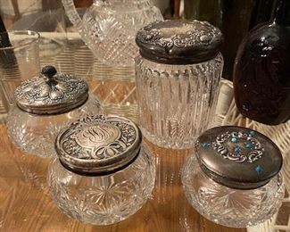 Dresser Jar  Collection with Sterling Lids  priced separately- see following pictures for individual prices.