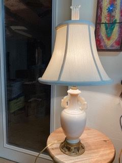 Item 49 Antique  Aladdin Alacite Electric Handled Urn Table lamp with original finial $150