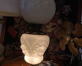 "Item 50 Antique Parlor Lamp with Embossed or "" puffy"" glass has been electrified. It is from the turn of the 20th century. $500"