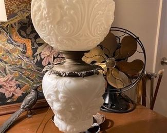 """Item 50 Antique Parlor Lamp with Embossed or """" puffy"""" glass has been electrified. It is from the turn of the 20th century. $500"""
