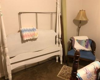 Canopy bed, floor lamp, arm chair, quilts