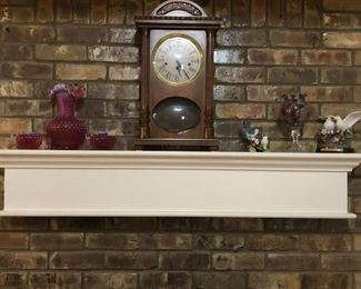 Vintage glassware and mantle clock