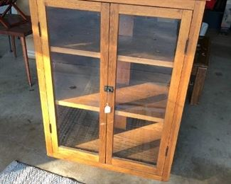 Oak rotating bookcase - doors open on both sides