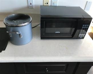 Microwave & pot. Estimate $100