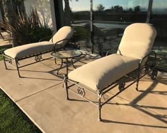 Pair of cast chaise & table $2200