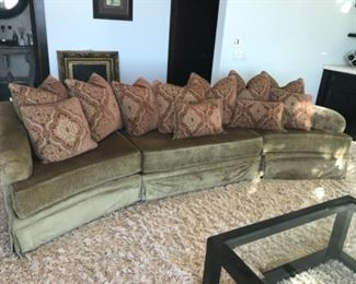 Sectional sofa & pillows, 122 inches. Estimate $2000