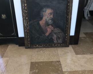 18th century oil. Man praying 30 x35 framed. Estimate $3500