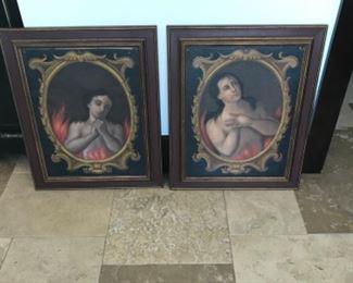 Purgatory 18th century oils on canvas 14.5 x 19.5 Estimate $$7000
