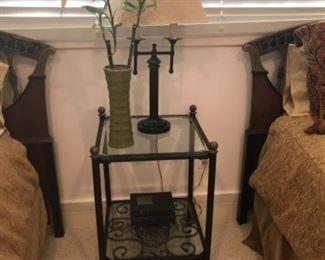 Night table, lamp & vase. Estimate $400