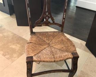 Inlaid rush seat chair. Estimate $750