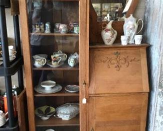 Antique Oak Secretary Cabinet