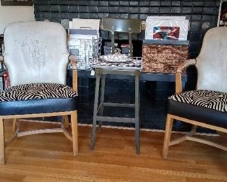 leather chairs from the 40's. seats reupholstered.