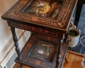 side table with reverse painted glass inserts