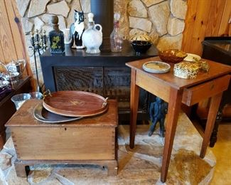 Antique 1800's Sugar Chest and work table