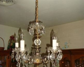 Vintage Electric Chandelier with Crystals