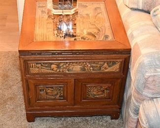 22 inches x 22 x 22. 1 drawer,  1 shelf behind doors. Was $625, now  $395.