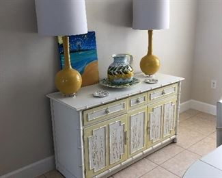 Vintage hand painted side board with matching dining room set
