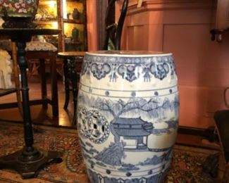 One of several ceramic garden stools