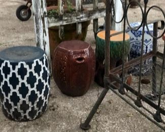 Garden stool and decorations
