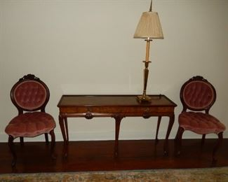 Baker Furniture Company console table, side chairs, lamp