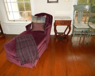 Chaise lounge; Victorian marble top side table