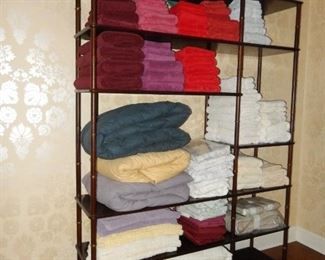 Bamboo etagere; linens