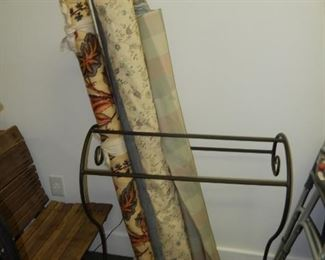 High end upholstery fabric; quilt rack