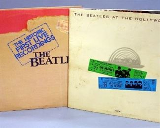 The Beatles Historic First Live Recordings, Pickwick PTP-2098 NM Vinyl and At The Hollywood Bowl, Capitol SMAS-11638, Good Vinyl, Qty 2