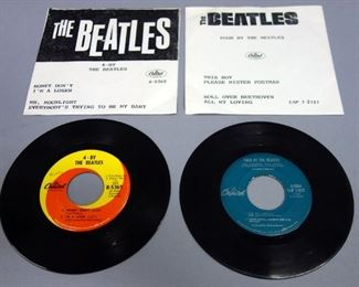 The Beatles 45rpm Records, Four By Capital EAP 1-2121 VG And 4-By Capital R-5365 VG+, Both With Repro Sleeves