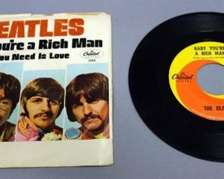 The Beatles 45rpm Record With Picture Sleeve, All You Need Is Love / Baby, You're A Rich Man , Capital 5964, VG++ Vinyl