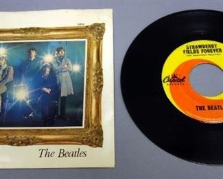 The Beatles 45rpm Record With Picture Sleeve, Strawberry Fields Forever / Penny Lane , Capital 5810, VG Vinyl