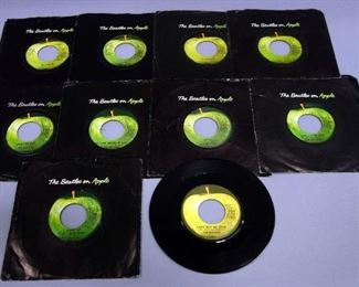 The Beatles 45rpm Records, Apple Label, VG to VG+, Qty 10