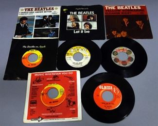 The Beatles Assorted 45rpm Records, Some With Picture Sleeves, VG to VG+, Qty 8