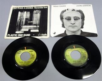 John Lennon 45rpm Records With Picture Sleeves, Give Peace A Chance VG++. Mind Games NM, Qty 2