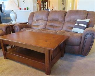 Power reclining sofa, Mission style coffee table