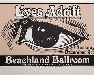 Lot 010 Sean Carroll Signed Limited Edition 2002 Eyes Adrift Beachland Ballroom Poster